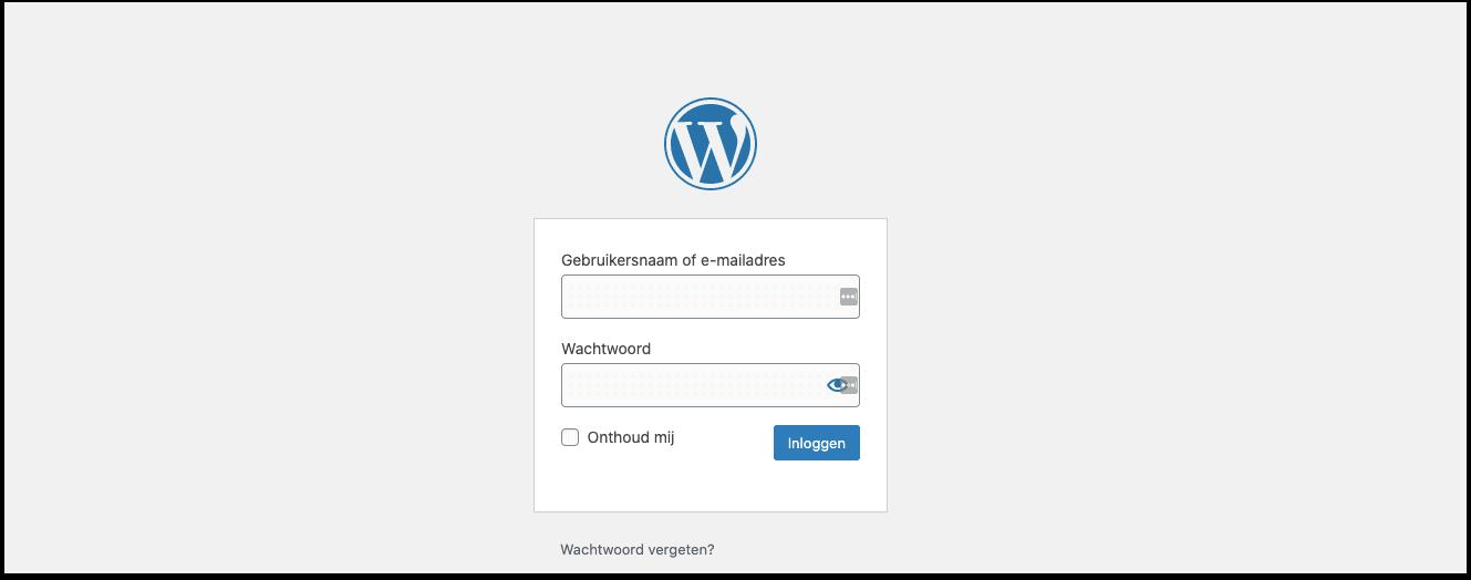 inloggen in wordpress CMS
