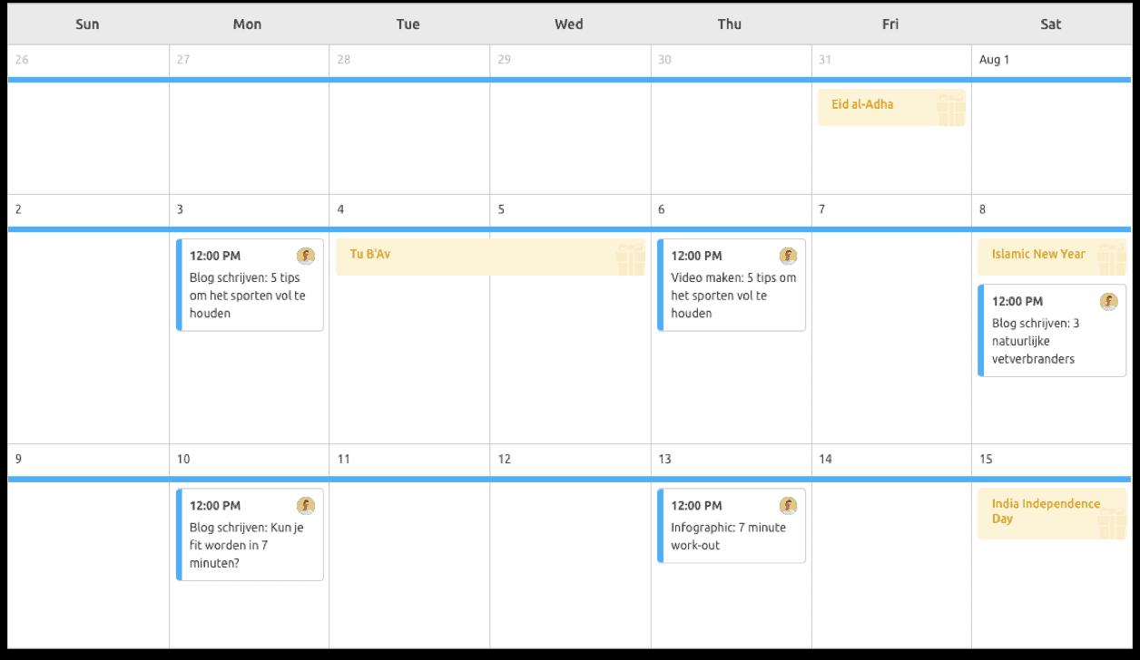 content kalender voorbeeld