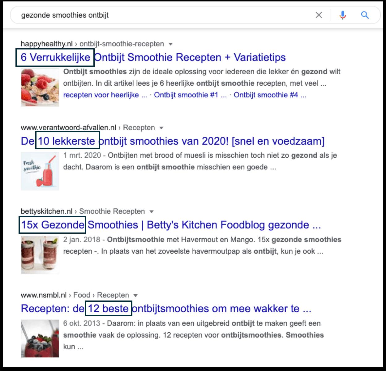 In dit voorbeeld zie je dat alle topposities recepten zijn. Het is dus niet aannemelijk dat je gaat ranken met een informatief blog over de voordelen van havermoutkoekjes. Google gaat er immers vanuit dat degene die de zoekopdracht uitvoert, op zoek is naar een recept.